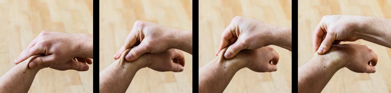 auto-massage poignets rouler peau