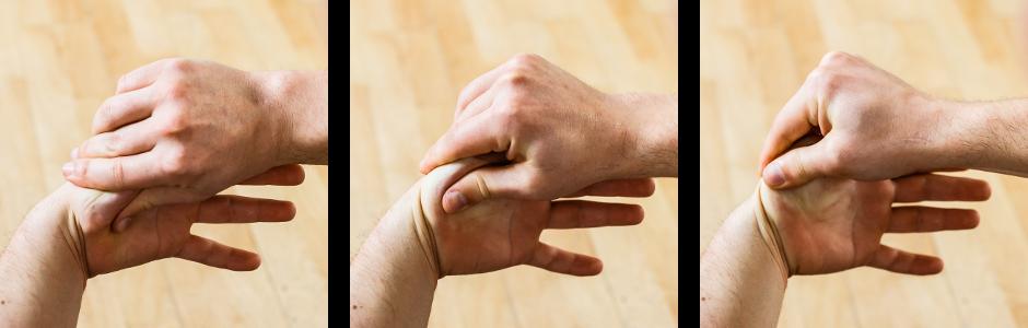 auto-massage poignets rouler pouce