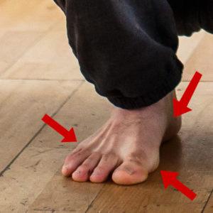 contact du pied au sol pour les squats