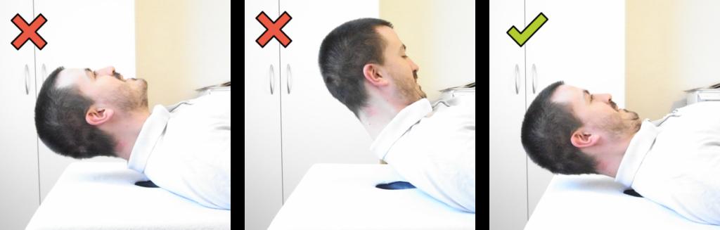 Position correcte pour le renforcement dynamique des muscles fléchisseurs de la nuque sans bande